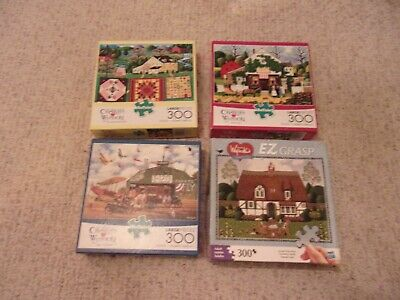 4 Charles Wysocki Americana Puzzles 300 Pieces Assorted Complete