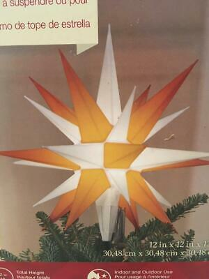 NIB LED Holiday Living Moravian Star Hanger/Tree Topper ~ Gold and White ~12""