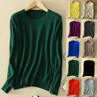 Women Wool Cashmere Sweater Knitted Pullover Slim Fit Crew Neck Sweater Jumper
