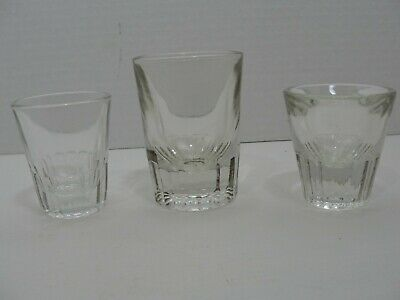 Mixed Lot of 3 Vintage MCM Thick Heavy Weighted Glass Bar Shot Glasses