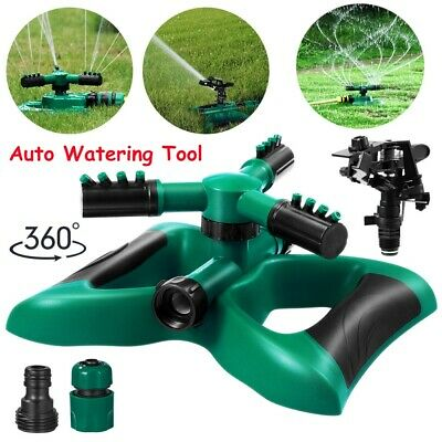 2IN1 Garden Lawn Water Sprinkler 360 Degree Automatic 3-Arm Rotating+Head Wobble