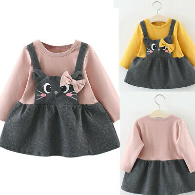 Toddler Kids Baby Girls Dress Long Sleeve Cartoon Cat Bow Party Princess Dress