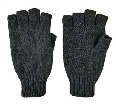 Bruceriver Men's Wool knitted Fingerless Ragg Gloves with Thinsulate (Anthra)