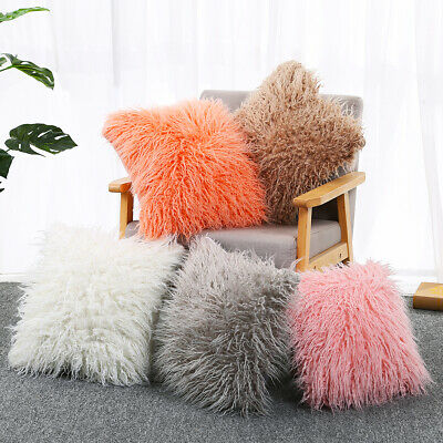 """18""""Luxury Fluffy Soft Cushion Case Long Shaggy Faux Plush Sofa Bed Pillow Covers"""