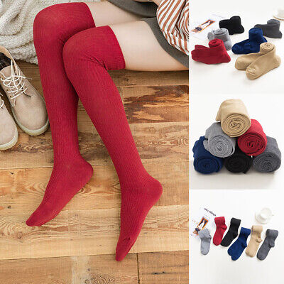 Ladies Sexy Over The Knee Socks Girls Fancy Womens Thigh High Plain Soft Socks