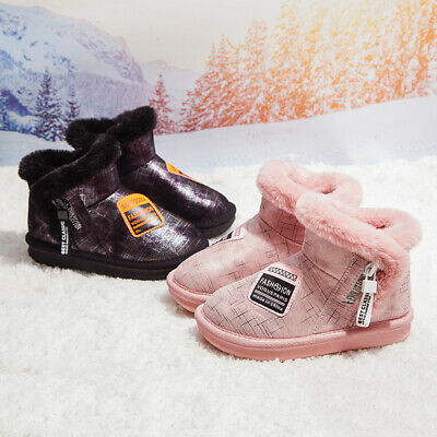 Kids Childrens Girls Warm Winter Ankle Boots Toddler Faux Fur Lined Shoes Size