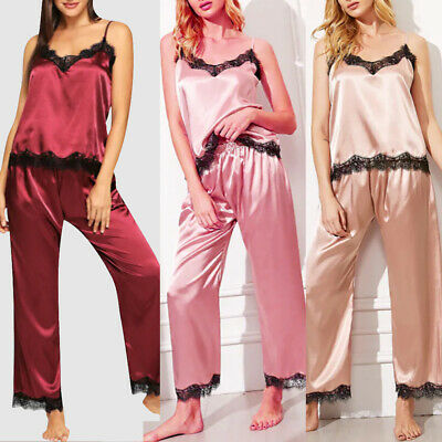 Womens Satin Silk Lace Nightwear Ladies Sexy Babydoll Sleeveless Pajamas Set UK