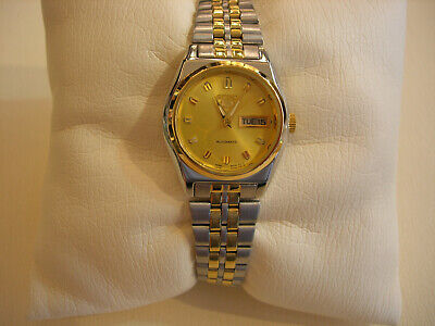 New Seiko 5 Round Women Automatic Dress Watch Beige Dial Gold Plated  SUAG76K
