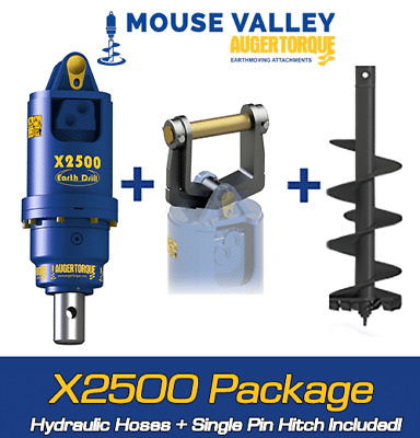 Auger Torque X2500 Single Pin BUDGET Package for Digger / Excavator 1.5-3 Ton