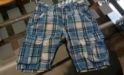 4 - 5 Years FAT FACE Boys Cargo Shorts 100% Thick Cotton Navy Blue White Check