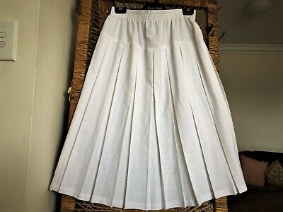 Great Looking 80S White Linen Look Pleated Flared Midi Skirt. 12-14.