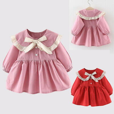 Toddler Baby Kids Dress Girls Ruffles Ruched Ribbon Bow Dresses Skirts Clothes