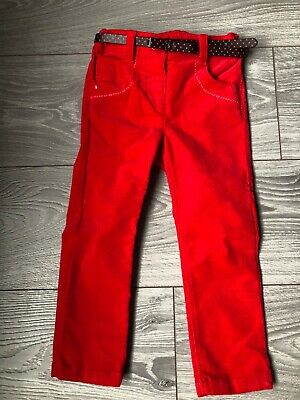 girls red cord next trousers, age 2-3 years with belt adjustable button waist.