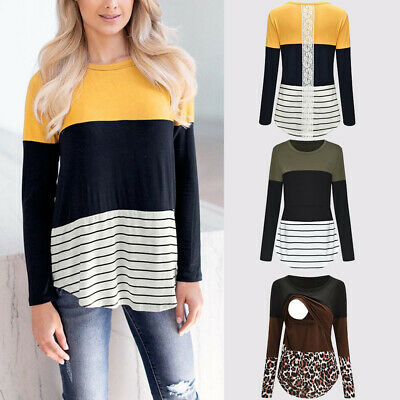 Women Maternity Tops Long Sleeve Striped&Print Tee Nursing Baby Tops T-shirt UK