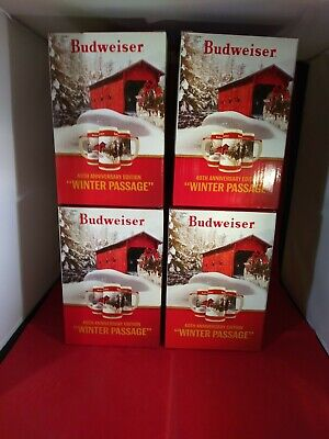 4x 2019 Budweiser Holiday stein beer mug from Christmas series WINTER PASSAGE
