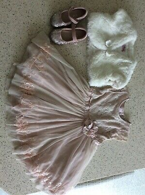 Girls 2-3y NEXT outfit, dress, bolero, shoes. wedding, party, christening