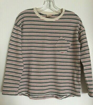 Zara Girls Casual Collection Ivory Striped Cotton L/S Tee 13 / 14 164