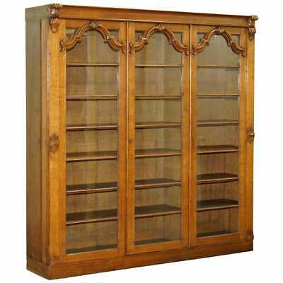 Lovely Large Golden Panelled Mahogany Bookcase With Glass Doors Ornate Carving