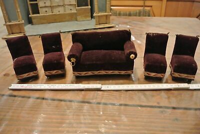 alte Puppenmöbel Sessel Couch Sofa 5 Teile