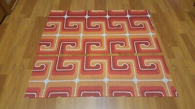 Awesome RARE Vintage Mid Century retro 70s red org roman abstract 2 piece fabric