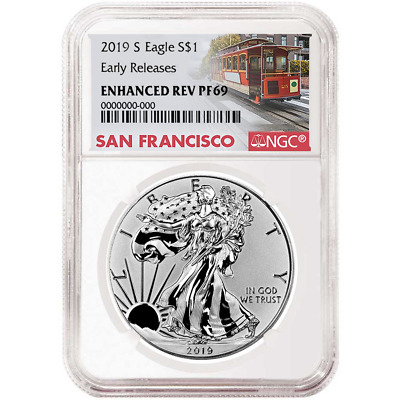 2019-S Enhanced Reverse Proof $1 American Silver Eagle NGC PF69 Trolley ER Label