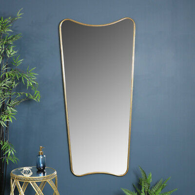 Extra large curved antique gold wall floor leaner mirror vintage shabby chic