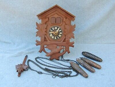 Germany Musical Cuckoo Clock For Parts Repair Vintage Black Forest Double Door