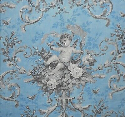 Antique Rococo Cherub Floral Roses Bird Insect Cotton Fabric ~ Soft Blue Gray