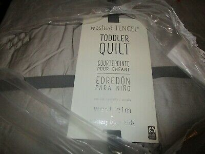 West Elm Washed TENCEL Toddler Quilt - platinum New with tag