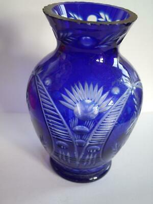 Art Deco Bohemian Czech Cobalt Blue Cut to Clear Crystal Glass Vase