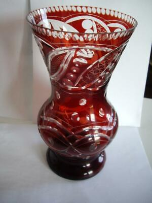 Art Deco Bohemian Czech Ruby Red Cut to Clear Crystal Glass Vase