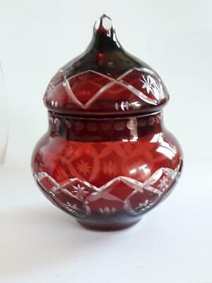 Art Deco Bohemian Czech Ruby Red Cut to Clear Crystal Glass Candy Sugar Bowl