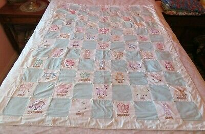 Baby Quilt with Embroidered  Animals