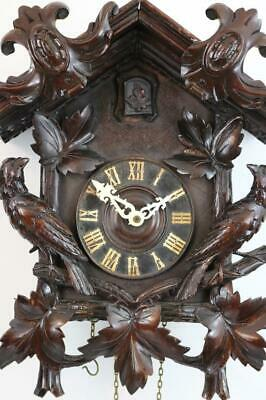 LARGE ANTIQUE CUCKOO CLOCK beautiful carved mahogany case SOME RESTORATION