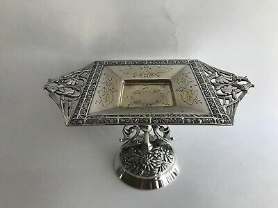 Antique Card Holder Tray Silver Plated Meriden B Company Figural