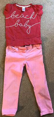 Bundle 2 Items Girl Age 4-5 Lily & Dan T-shirt, Next Pink Trousers