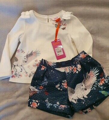 BNWT Ted Baker Baby Girl 2-3 Years Outfit Unicorn Design