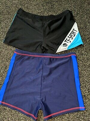 2x Pairs Boys Swimming Trunks Shorts~Black/Blue~Age 12-13