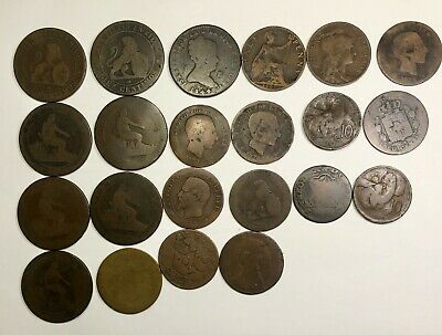 Lot of 22 Coins -1800s to 1900s FRENCH and SPANISH, GREAT BRITAN - Lot #A1