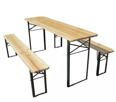 Outdoor Wooden Folding Beer Table Bench Set Trestle Garden Steel Leg Patio BEST