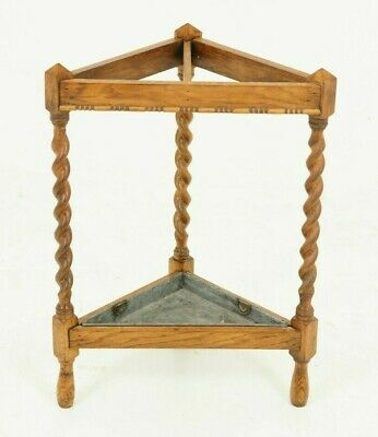 Antique Umbrella Stand, Stick Stand, Barley Twist Oak, Antique Furniture, B1617