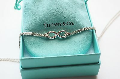 Tiffany & Co Sterling Silver Infinity Pendant Double Chain Love Charm Necklace