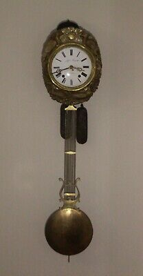 French Antique Comtoise Wall Clock with Lyre Pendulum circa 1800's