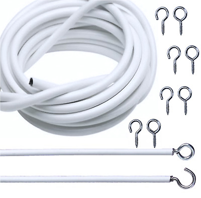 Net Curtain Wire White Window Cord Cable Free Hooks & Eyes 2m, 3m, 4m