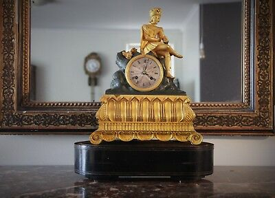 Magnificent French Antique Gilt Ormolu and Bronze Clock c1850