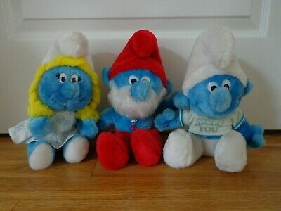 "THE SMURFS Vintage 10"" Plush Dolls - Smurfette, Papa Smurf, and Smurf"