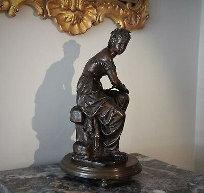 French Antique Bronzed Spelter Figurine of a Seated Harvest Girl