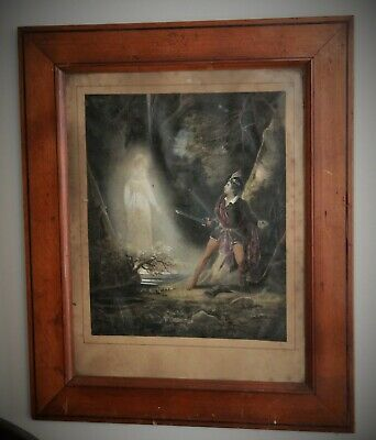 French Antique Framed Religious Colored Lithograph