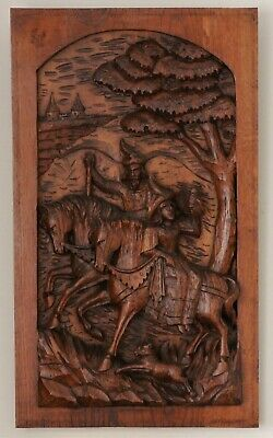 French Antique Carved Oak Panel in Relief c.1800's