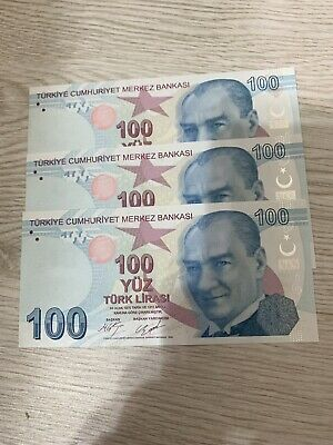 TURKEY: Set of 3 Turkish Lira Banknotes Unc Condition  Consecutive Numbers